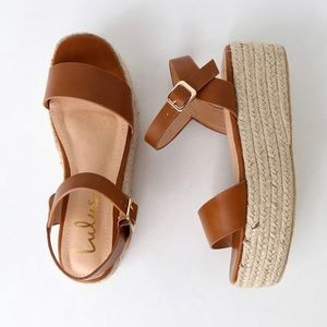 Corsa Tan Espadrille Flatform Sandals